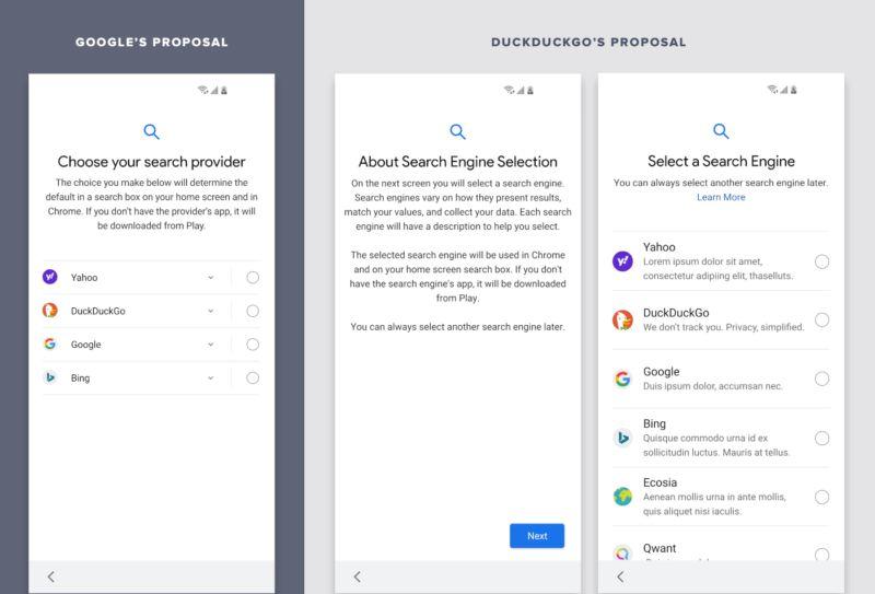 Screenshot con la comparazione delle due proposte per la schermata di selezione del motore di ricerca