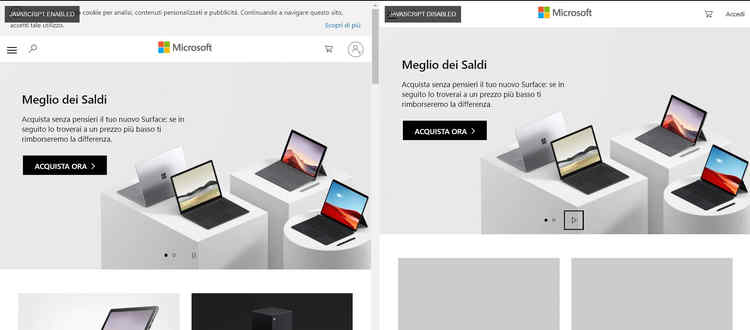 Screenshot del bookmarklet che compara un sito nella sua versione con Javascript attivato e disattivato