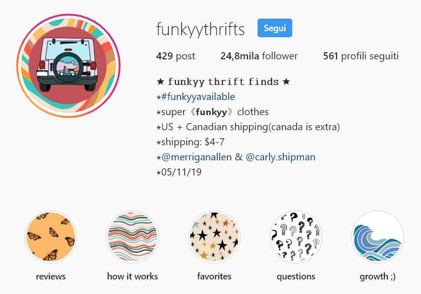 Screenshot di un profilo Instagram utilizzato come casa d'aste stile eBay