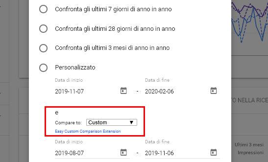 Screenshot dell'estensione per il confronto delle date in Search Console